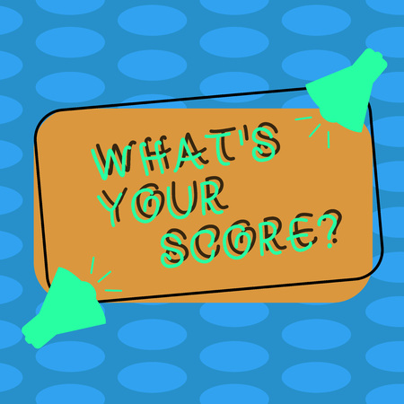 Word writing text What S Your Score. Business photo showcasing Personal grade rating on a competition game or study Two Megaphone with Sound icon on Blank Color Outlined Rectangular Shape