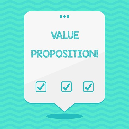 Text sign showing Value Proposition. Business photo showcasing innovation service intended make product attractive Blank Space White Speech Balloon Floating with Three Punched Holes on Top