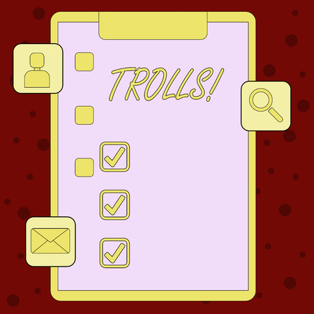 Handwriting text Trolls. Conceptual photo Online troublemakers posting provocative inflammatory messages Clipboard with Tick Box and 3 Apps Icons for Assessment, Updates, Reminder Stock Photo - 119874338