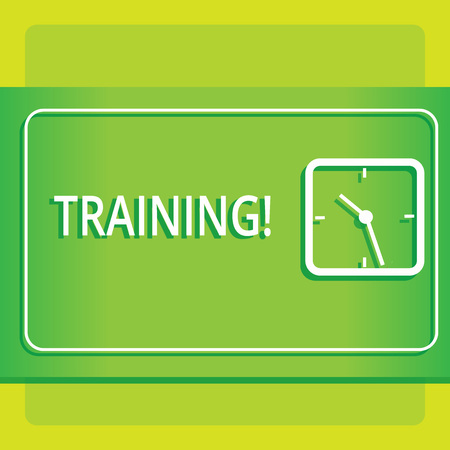 Text sign showing Training. Business photo showcasing Organized activity to develop skill set of showing Modern Design of Transparent Square Analog Clock on Two Tone Pastel Backdrop Stock Photo