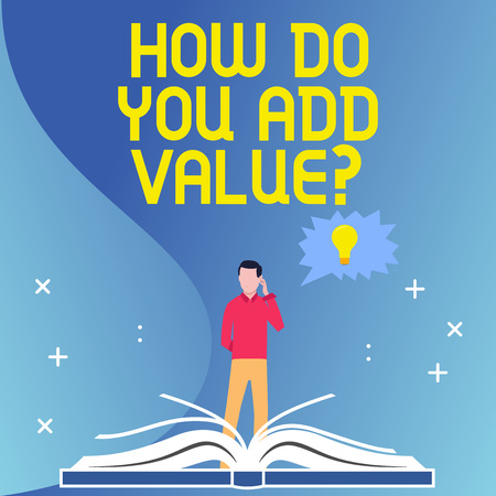 Text sign showing How Do You Add Value Question. Business photo text improve work undertaking production process Man Standing Behind Open Book, Hand on Head, Jagged Speech Bubble with Bulb