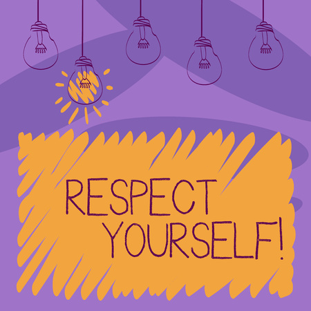 Writing note showing Respect Yourself. Business concept for believing that you good and worthy being treated well Transparent Bulbs Hanging with Filament and One Lighted Icon