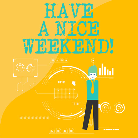 Text sign showing Have A Nice Weekend. Business photo showcasing wishing someone that something nice happen holiday Man Standing Holding Pen Pointing to Chart Diagram with SEO Process Icons