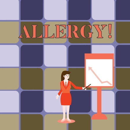 Handwriting text writing Allergy. Conceptual photo damages in immunity due to hypersensitivity get it diagnised Businesswoman Holding Stick Pointing to Chart of Arrow Upward on Whiteboard