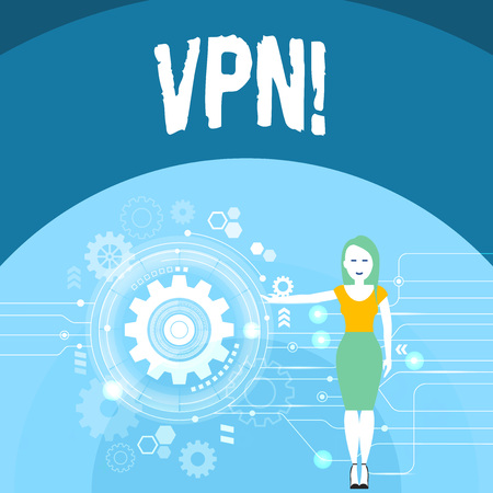 Writing note showing Vpn. Business concept for Secured virtual private network across confidential domain protected Woman Presenting the SEO Process with Cog Wheel Gear inside