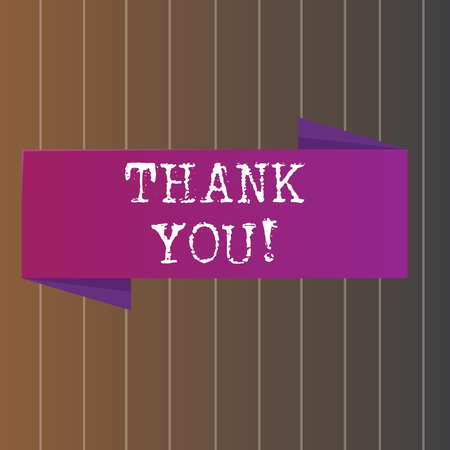 Text sign showing Thank You. Business photo showcasing polite expression used when acknowledging gift service compliment Blank Folded Color Banner photo on Vertically Striped Two Toned Backdrop