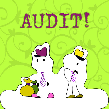 Conceptual hand writing showing Audit. Concept meaning Local company auditors perform their financial investigation annually Figure of Two Men Standing with Pouch Bag White Snow Effect