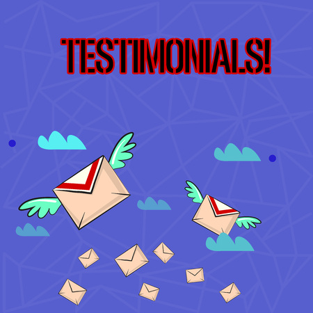 Writing note showing Testimonials. Business concept for Customers formal endorsement statement experience of someone Colorful Airmail Letter Envelopes and Two of Them with Wings Stock Photo