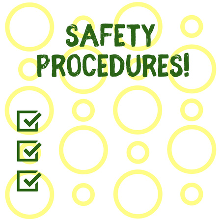 Conceptual hand writing showing Safety Procedures. Concept meaning Follow rules and regulations for workplace security Seamless Pattern of Loop Rings in Random on White Isolated