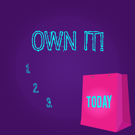 Word writing text Own It. Business photo showcasing one belonging to oneself Be accountable for your actions activities Color Gift Bag with Punched Hole but Without Handle on Twotone Blank Space