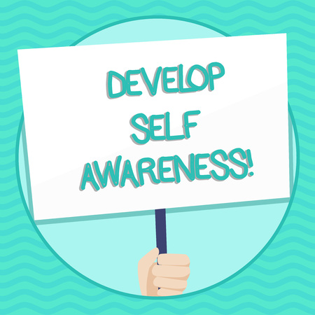 Word writing text Develop Self Awareness. Business photo showcasing What you think you become motivate and grow Hand Holding Blank White Placard Supported by Handle for Social Awareness