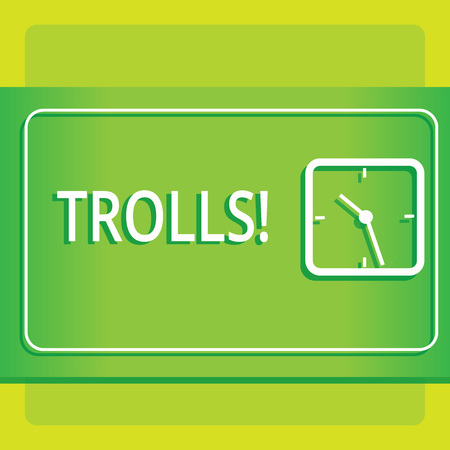 Text sign showing Trolls. Business photo showcasing Online troublemakers posting provocative inflammatory messages Modern Design of Transparent Square Analog Clock on Two Tone Pastel Backdrop Reklamní fotografie