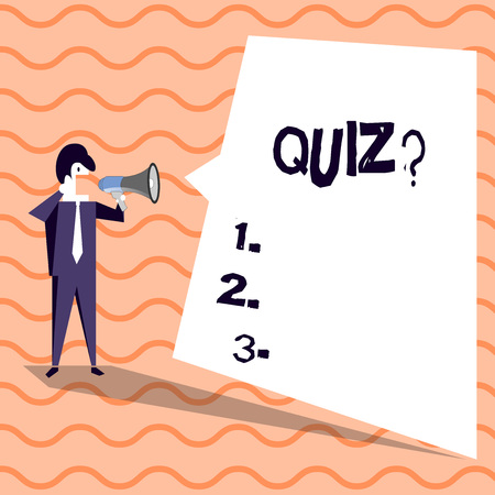 Word writing text Quiz question. Business photo showcasing Short Tests Evaluation Examination to quantify your knowledge Businessman Shouting on Megaphone and Blank White Uneven Shape Speech Bubble Banco de Imagens - 119876925
