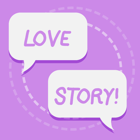 Handwriting text writing Love Story. Conceptual photo novel about relationship between two demonstratings analysis Two Blank White Speech Balloon Engaging in Conversation on Pastel Backdrop