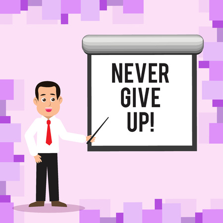 Writing note showing Never Give Up. Business concept for Be persistent motivate yourself succeed never look back Man in Necktie Holding Stick Pointing White Screen on Wall Stockfoto