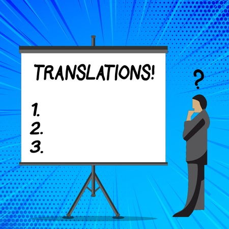 Word writing text Translations. Business photo showcasing Written or printed process of translating words text voice Businessman with Question Mark Above his Head Standing Beside Blank Screen