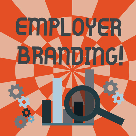 Text sign showing Employer Branding. Business photo text promoting company employer choice to desired target group Magnifying Glass Over Bar Column Chart beside Cog Wheel Gears for Analysis