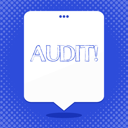Word writing text Audit. Business photo showcasing Local company auditors perform their financial investigation annually Blank Space White Speech Balloon Floating with Three Punched Holes on Top 写真素材