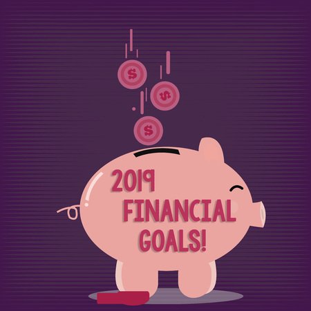 Text sign showing 2019 Financial Goals. Business photo showcasing New business strategy earn more profits less investment Color Piggy Bank Sideview and Dollar Currency Coins Falling Down to the Slit