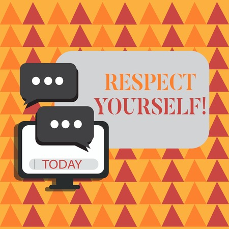 Word writing text Respect Yourself. Business photo showcasing believing that you good and worthy being treated well Blank Computer Monitor and Two Speech Balloon with Three Dots for Chat Icon
