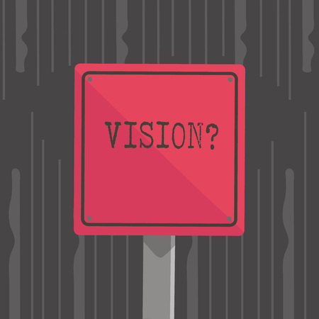 Handwriting text Visionquestion. Conceptual photo Company commitment describing future realistic state 3D Square Blank Colorful Caution Road Sign with Black Border Mounted on Wood 版權商用圖片
