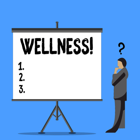 Word writing text Wellness. Business photo showcasing Making healthy choices complete mental physical relaxation Businessman with Question Mark Above his Head Standing Beside Blank Screen