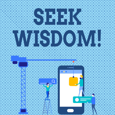 Word writing text Seek Wisdom. Business photo showcasing ability to think act using knowledge experience understanding Staff Working Together for Common Target Goal with SEO Process Icons