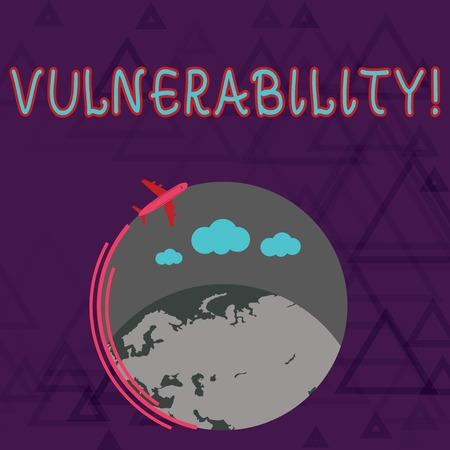 Writing note showing Vulnerability. Business concept for Information susceptibility systems bug exploitation attacker Airplane Flying Around Colorful Globe and Blank Text Space