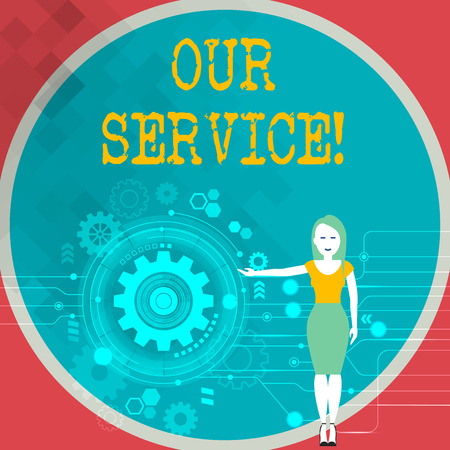 Text sign showing Our Service. Business photo showcasing announcing as repair or provide maintenance for product Woman Standing and Presenting the SEO Process with Cog Wheel Gear inside 写真素材