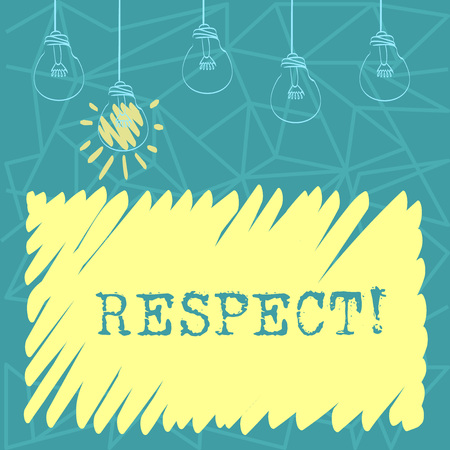 Handwriting text Respect. Conceptual photo Feeling of deep admiration for someone or something Appreciation Set of Transparent Bulbs Hanging with Filament and One is in Lighted Icon Stock Photo