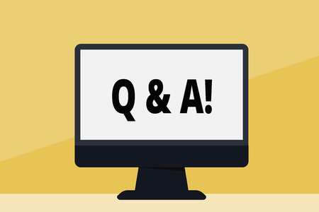 Word writing text Q And A. Business photo showcasing defined as questions being asked by showing and answers for them Blank Space Desktop Computer Colorful Monitor Screen Freestanding on Table