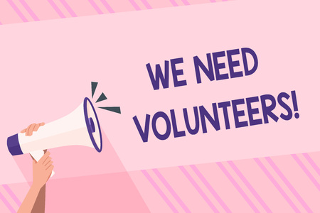 Text sign showing We Need Volunteers. Business photo text someone who does work without being paid for it Human Hand Holding Tightly a Megaphone with Sound Icon and Blank Text Space Banco de Imagens