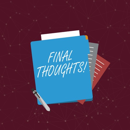 Handwriting text writing Final Thoughts. Conceptual photo should be last few sentences within your conclusions Colorful Lined Paper Stationery Partly into View from Pastel Blank Folder
