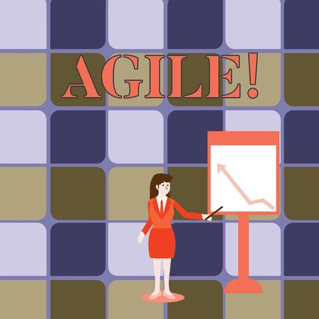 Handwriting text writing Agile. Conceptual photo Develop an agility towards technological chnage Businesswoman Holding Stick Pointing to Chart of Arrow Upward on Whiteboard 写真素材