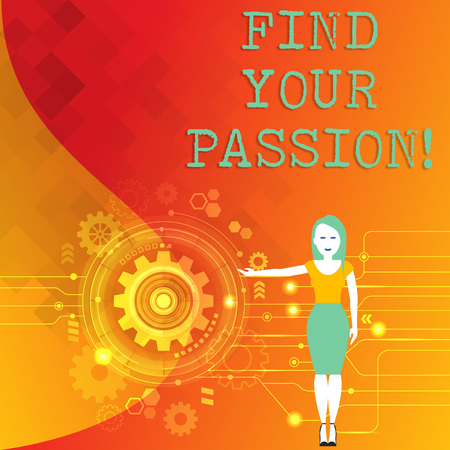 Word writing text Find Your Passion. Business photo showcasing No more unemployment find challenging dream career Woman Standing and Presenting the SEO Process with Cog Wheel Gear inside