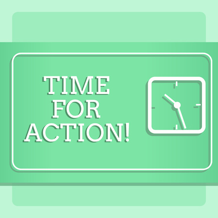 Writing note showing Time For Action. Business concept for Do not sit idle take initiative get work done duly Modern Design of Square Clock on Two Tone Pastel Backdrop