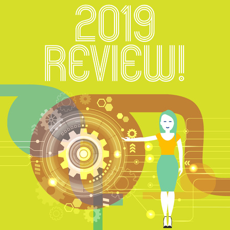Handwriting text writing 2019 Review. Conceptual photo remembering past year events main actions or good shows Woman Standing and Presenting the SEO Process with Cog Wheel Gear inside