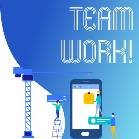 Text sign showing Team Work. Business photo text combined action of group especially when effective and efficient Staff Working Together for Common Target Goal with SEO Process Icons
