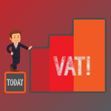 Conceptual hand writing showing Vat. Concept meaning Consumption tax levied on sale barter for properties and services Businessman Presenting Growth and Success in Graph Columns