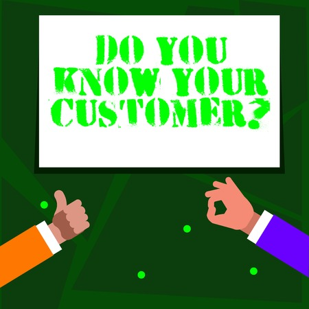 Word writing text Do You Know Your Customer Question. Business photo showcasing service identify clients with relevant information Two Businessmen Hands Gesturing the Thumbs Up and Okay Sign for Promotion Фото со стока