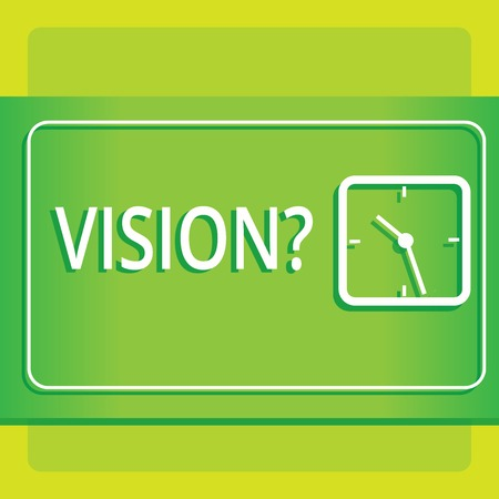 Text sign showing Visionquestion. Business photo showcasing Company commitment describing future realistic state Modern Design of Transparent Square Analog Clock on Two Tone Pastel Backdrop