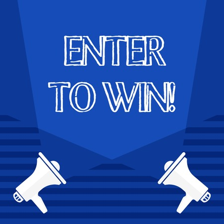 Text sign showing Enter To Win. Business photo showcasing exchanging something value for prize chance winning prize Blank Double Spotlight Crisscrossing Upward from Two Megaphones on the Floor