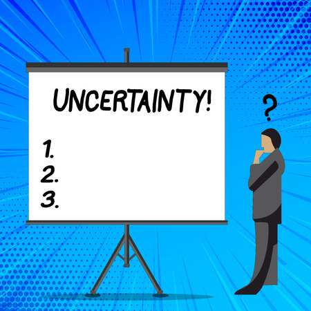 Word writing text Uncertainty. Business photo showcasing Unpredictability of certain situations events behavior Businessman with Question Mark Above his Head Standing Beside Blank Screen Stock Photo
