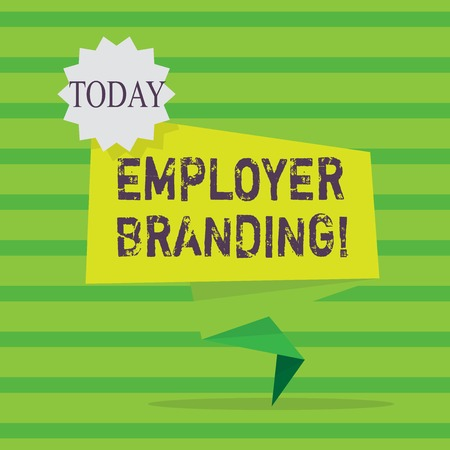 Word writing text Employer Branding. Business photo showcasing promoting company employer choice to desired target group Blank Space Green Two Tone Folded Back Banner Strip with Seal Stamp Sticker