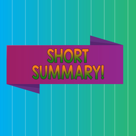 Word writing text Short Summary. Business photo showcasing Brief statement of main points clear Blank Folded Color Banner photo on Vertically Striped Two Toned Backdrop Imagens