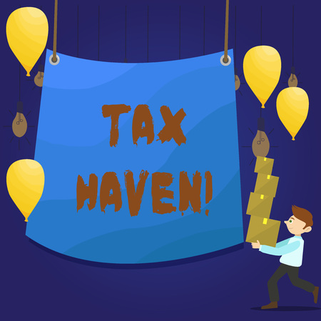 Writing note showing Tax Haven. Business concept for country or independent area where taxes are levied at low rate Man Carrying Pile of Boxes with Tarpaulin in Center Balloons