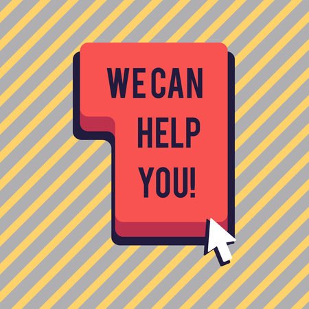 Text sign showing We Can Help You. Business photo showcasing offering good assistance to customers or friends Direction to Press or Click the Red Keyboard Command Key with Arrow Cursor