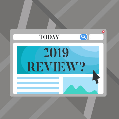 Word writing text 2019 Review Question. Business photo showcasing remembering past year events main actions or good shows Blank Template of Pastel Colorful Website Layout Design for Homepage Format Standard-Bild - 119910039