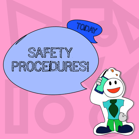 Conceptual hand writing showing Safety Procedures. Concept meaning Follow rules and regulations for workplace security Man in Necktie Holding Smartphone to Head in Sticker Style