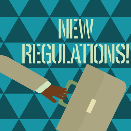 Text sign showing New Regulations. Business photo text rules made government order control something done Rushing Businessman Arm Swayed Farther Back and Hand Holding Color Briefcase